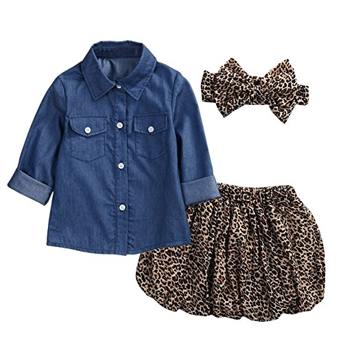 BOBORA Baby Girls Kids 3PCs Clothing Set Girls Denim Shirt + Leopard Skirt + Headband Outfits Set
