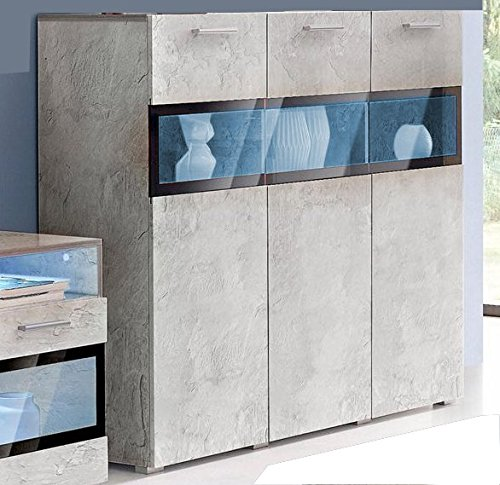 Moebelaktionsshop24 HIGHBOARD Sideboard KOMMODE Wohnzimmer ANBAUWAND Beton-Optik NEU 333139