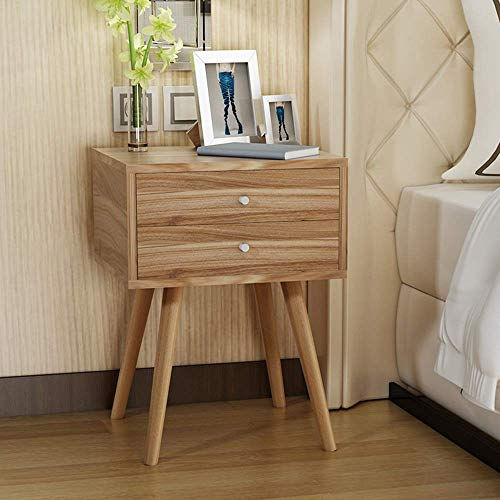 DEED Kleiner Tisch Haushalt Nachttisch 2-Tier-Kubik-Nacht-Stand Lagerung Nachttisch mit Schublade Echt Natur Paulownia Holz Einfache Moderne Schlafzimmer Einfache Study Table,2 Schublade,Eiche - 2 Schublade Eiche Couchtisch