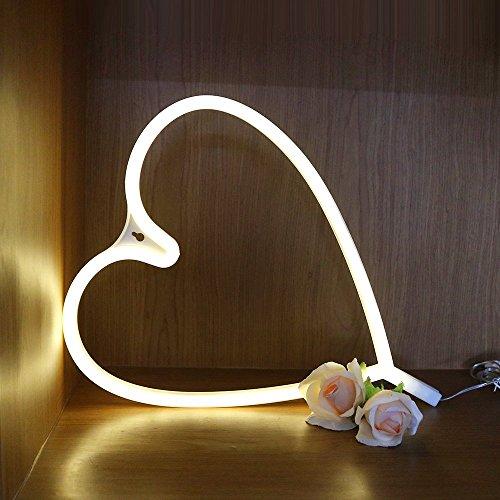 XIYUNTE LED néon Light Veilleuses - Amour Signes Lampes Lumières de néon de signe murale Décoratio,USB et batterie au néon Lampes pour Chambre à coucher, salon, mariage, cadeau de Noël (white amour)