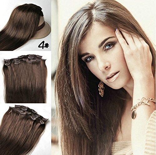 Romantic Angels® Clip In/On Extensions de cheveux humains 10 Pieces Set 120g - 55cm Couleur:brun moyen#4