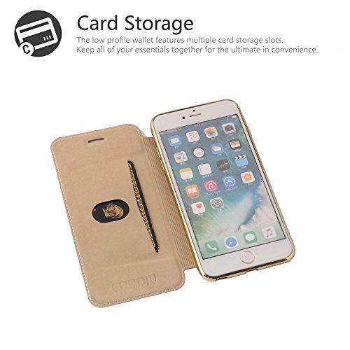 iPhone 6S Plus Hülle, iPhone 6 Plus Lederhülle, Coodio Ledertasche Handyhülle Wallet Brieftasche Tasche mit Kartenfach Schutzhülle Silikon Durchsichtig für iPhone 6S Plus / 6 Plus - Schwarz Braun
