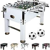 Maxstore Baby-Foot Leeds, décor: Blanc, avec 2 balles + 2 Porte-gobelets, Baby Foot Foosball Kicker Table