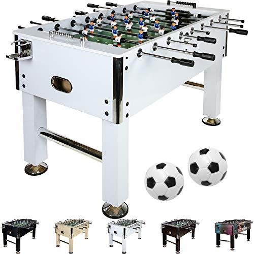 Maxstore Kickertisch Leeds in 5 Farben, Tischfußball, Tischkicker, inkl. 4 Bälle + 2 Getränkehalter, ca. 60kg - Weiß