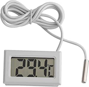 Magt Mini Digital Lcd Thermometer Temperatur Monitor Mit Externer Wasserdichter Sonde Für Kühlraum Aquarium Aquarium Kühlraum Fishtank Wassertemperatur Weiß 4 8cm 2 8cm 1 5cm Farbe Weiß Baumarkt