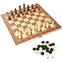 Juego de Ajedrez 3 en 1 - Damas Backgammon Dados Tablero de Ajedrez Plegable Estándar Internacional