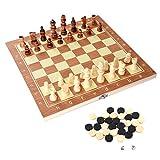 VGEBY Scacchi Dama e Backgammon in Legno con Confezione Portatile, 3-in-1 Scacchiera Standard Pieghevole Gioco Intelligente 34 x 34 cm
