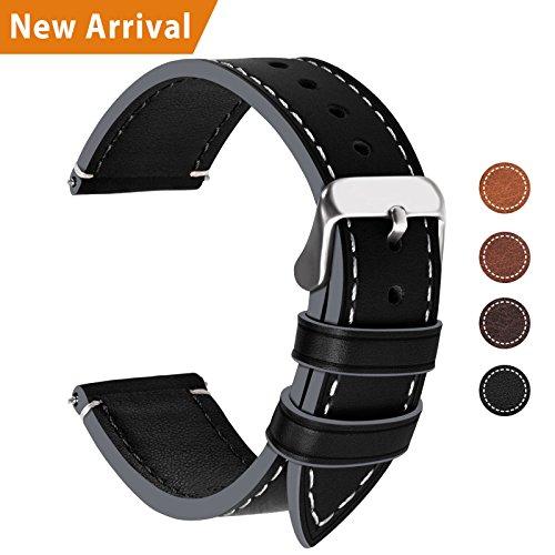 Fullmosa Ersatz Armbänder für Uhr in 6 Farben, Wax Series Echtes Leder Uhrenarmband 24mm/Watch Band für Damen&Herren,Schwarz+ Silber Schnalle