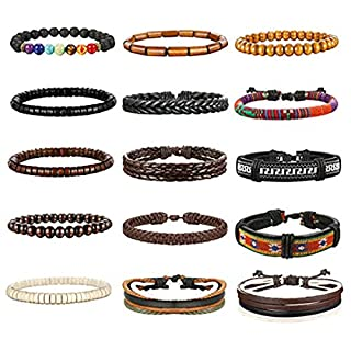 Milacolato 8-15Pcs Men Leather Bracelets Hemp Cords Wood Beads Ethnic Tribal Bracelets Leather Wristbands