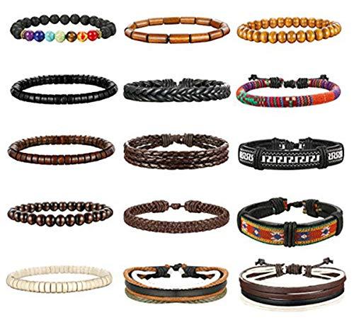 Milacolato 8-15pcs bracciali in pelle per uomo cordini di canapa perline in legno bracciali tribali etnici bracciali in pelle