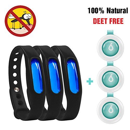 Insektenschutz, Binwo bestes Mückenschutz Armband - Indoor Outdoor Anti Mücken Armband, Schutz bis zu 90 Tage, Natürliches sicheres DEET-freier und wasserfester Gegen Moskito Armband Insektenvernichter für Kinder & Erwachsene (3 Stück: schwarz)