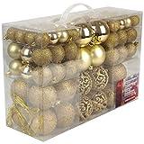 Christmas Gifts Valigia 100 Pezzi Palle di Natale Oro, Gold, 100x