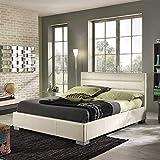 Pharao24 Kunstleder Bett mit Bettkasten Beige