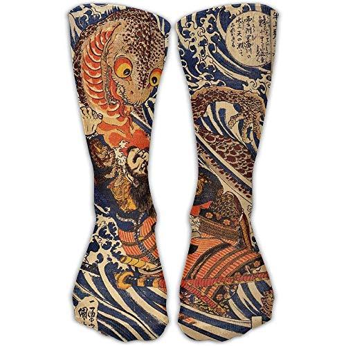 Men Women Japanese Samurai Warrior Fighting Giant Salamander Cotton Crew Athletic Sock Casual Socks