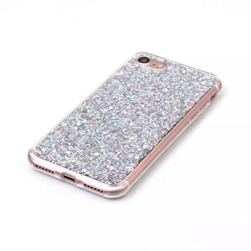 iPhone 7 Coque,Vandot TPU Silicone Cristal Glitter Bling brillant Rhinestone Housse pour iPhone 7 4.7 Pouces Transparent Housse de Protection Case Cover Housse-Or 2in1Coque-Argent