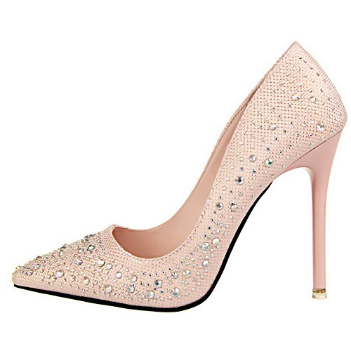 AalarDom Femme Pointu Matière Souple Couleur Unie Stylet Chaussures Légeres Rose-Pu Cuir