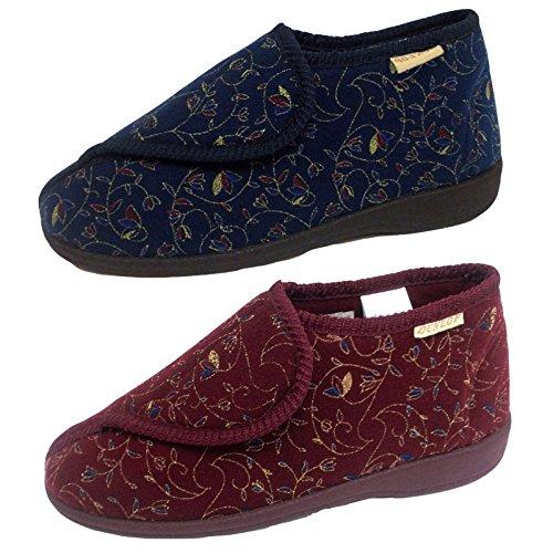 Dunlop Chaussons Florals Pour Femmes Betsy À Enfiler Chaussures Velcro Anti-dérapantes Bordeaux
