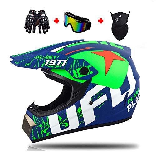 Casco di Motocross Stile UFO Casco da Cross Moto Set con Occhiali Maschera Guanti, Uomini Donne Caschi Integrali Moto off-Road Enduro Downhill Casco ATV MTB BMX Quad Casco da Motociclista,XL