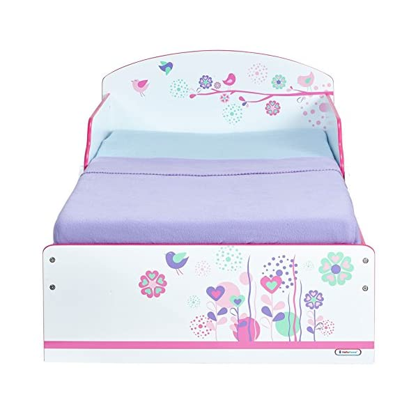 Flowers and Birds Kids Toddler Bed by HelloHome  Ideal transition from cot to bed - make the move to her first big bed magical with the Flowers and Birds toddler bed from HelloHome Takes cot bed size mattress - 140cm (l) x 70cm (w). Mattress not included. Assembled size (h)59, (w)77, (l)142cm Suitable for 18 months to 5 years this pink kids' bed is perfect for your little toddler! 3