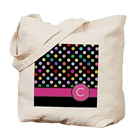 CafePress Tasche–Pink Buchstabe C Monogramm Rainbow Polka Dot Tasche