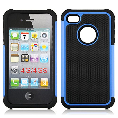Bracevor Triple Layer Defender hard shell back case rugged cover for Apple iPhone 4 4s 4g - Blue  available at amazon for Rs.299