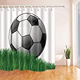 EdCott Tende da Doccia Sport per Il Bagno Pallone da Calcio dei Cartoni Animati sul Prato per i Bambini Ganci per Tende da Doccia Impermeabile in Tenda da Bagno in Poliestere Tessuto 71X71in