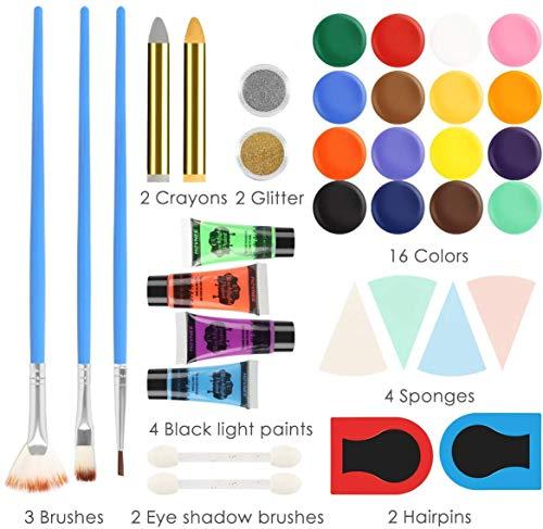 HOVNEE Pintura de cara Facial para Niños Kit de Pintura, maquillaje niños al agua Profesional Pintura, 16 Colores 3 Pinceles, Rainbow MakeupSegura y para Pieles Sensibles Maquillaje Halloween