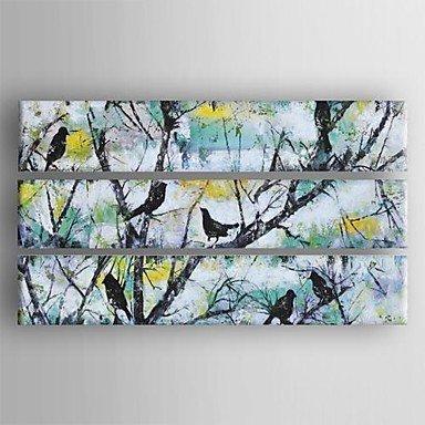 Ölgemälde moderne abstrakte Vögel im Baum Satz von 3 handgemalte Leinwand mit gestreckten Werk (Vögel ölgemälde)