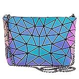 LOVEVOOK Umhängetasche Ketten Damen, Schultertasche Reißverschluss Shopper Handtasche Frauen Geometrische Tasche mit Kettenriemen, Leuchtend, Mittel