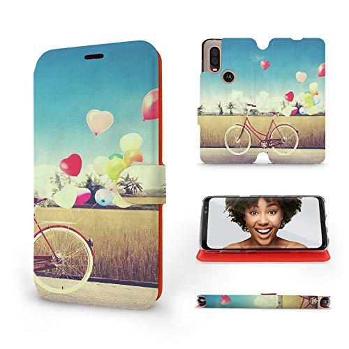 MOBIWEAR | Slim FLIP Case | Kompatibel mit Motorola One Vision, Made in EU handyhülle, Premium Schutzhülle, Transparent TPU Silicon, Book Style Hülle, Tasche - Radfahr und Bunte Luftballons -