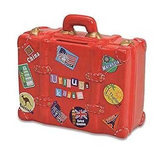 Spardose Urlaubskasse rot in Kofferform   Sparbüchse roter Reisekoffer mit Schlüssel und Schloss   Sparschwein abschließbar
