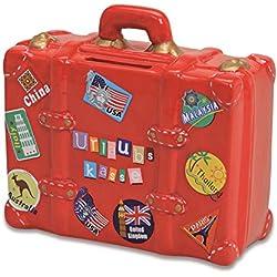 Hucha de cerámica con candado y llave, color rojo, hucha para ahorros, diseño de maleta, hucha de vacaciones, caja de vacaciones, objetivo de viaje, ahorrar para viajes