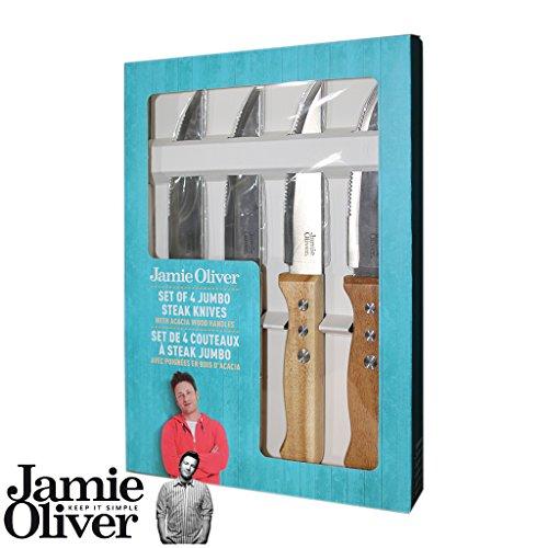 Jamie Oliver- Set di 4maxi coltelli da bistecca con manico in legno di acacia, edizione francese [etichetta in lingua italiana non garantita]