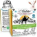 Nabür - Savon lait de chèvre Frais BIO 20% | Saponifié à froid | Artisanal, Masque Extra-doux, Surgras | Visage, Corps, Tâches, Acné, Eczéma, Psoriasis