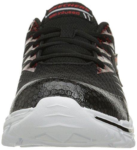 Skechers Mädchen Nitrate Sneaker, Charcoal/Schwarz Rot