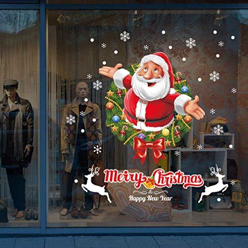 Wallpaper FANGQIAO SHOP Wandaufkleber, Neue Weihnachten Alte Menschen Glasfenster Schlafzimmer Wandtattoos Druck Kann Mode Kunst Aufkleber Entfernt Werden