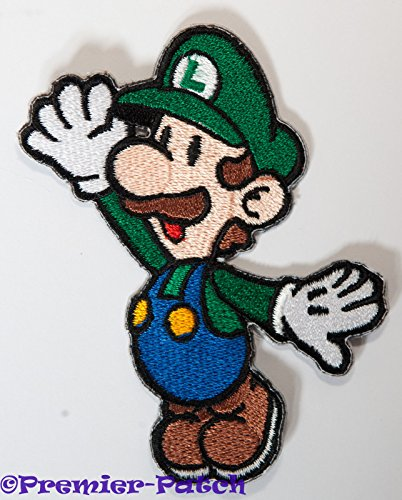 Luigi Patch Embroidered Iron on Badge Aufnäher Kostüm Cosplay Mario Kart/SNES/Mario World/Super Mario Brothers/Mario Allstars