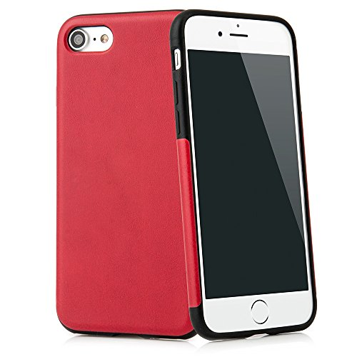 "Case für iPhone 6/6S (4,7"") Thin Fit Hülle ""PU Leather"" - PU Leder Tasche für iPhone 6, Schutzhülle mit Soft Feel Coating in schwarz - iPhone Hülle iPhone6 von QUADOCTA® Rot"