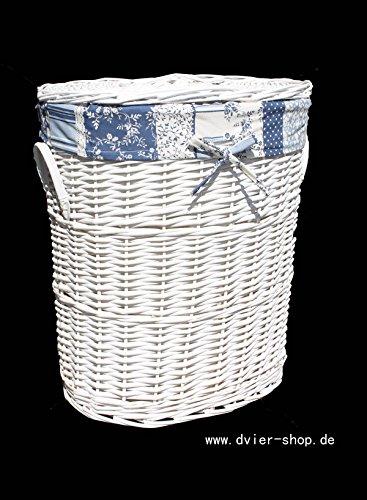 Cesto de ropa sucia de mimbre blanco con tapa
