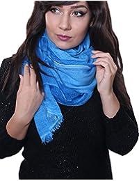 Prettystern - longue cheche soie écharpe 190 cm Tie-Dye lavés optique tissu de couleur unie Femmes Hommes