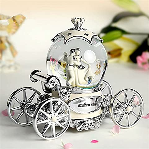 GG Sposa creativa colorata lampeggiante all'interno dell'auto rotazione neve globo music box