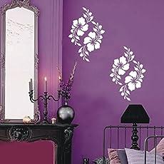 Kayra Decor Plastic Sheet Hibicus Flower Reusable Wall Stencil (16 x 24 inches)