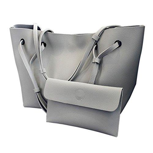 Moda Donna Litchi Modello Pu Borsa In Pelle Spalla Bag + Pochette Portafoglio di Kangrunmy Grigio