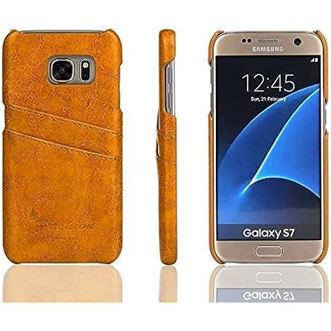 Distinct® Coperchio di lusso PU carta di cuoio fessura posteriore dura di caso per Samsung Galaxy S7 Edge (giallo) - Goffratura Cera