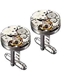 Peora Silver Plated Deluxe Steampunk Vintage Watch Movement Shape Cufflinks for Men Business Gift