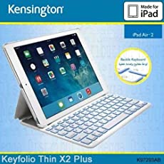 Kensington KeyFolio Thin X2Plus mit Englisch und Arabisch Tastatur für 24,6cm iPad Air 2starke Leichtes Polycarbonat Design//Bluetooth/Hintergrundbeleuchtung Schlüssel/enhanched Drop Schutz k97293ab