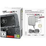 New Nintendo 3DS XL metallic schwarz (TN Variant) + Nintendo 3DS / 3DS XL / DSi / DSi XL - Power Adapter