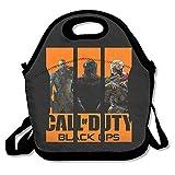 Call Of Duty Negro Ops 3caja de almuerzo bolsa para niños y adultos, Lunch Tote Holder con correa ajustable para hombres mujeres niños niñas, este diseño para portátil, oblicuo Cruz, doble hombro
