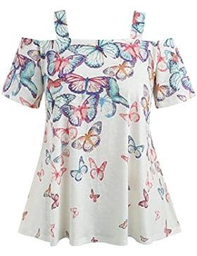 FAMILIZO Camisetas Mujer Tallas Grandes ❤️ L~5XL Verano Blusa Mujer Elegante Camisetas Mujer Manga Corta Algodón...