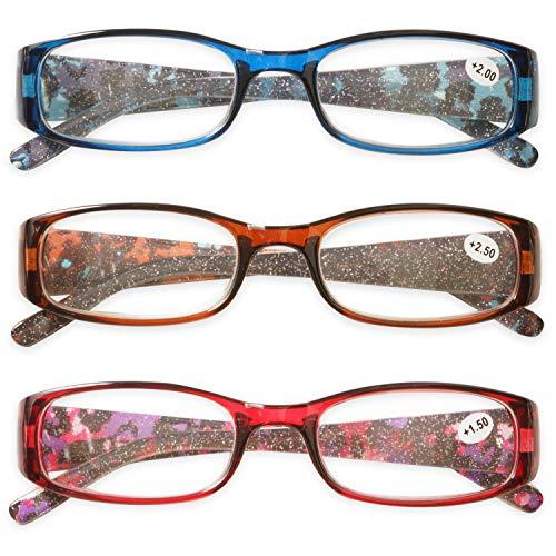 KOOSUFA Lesebrille Damen Herren Qualität Rechteckige Anti Müdigkeit Brille Lesehilfe Sehhilfe Retro Designer Mode Vollrandbrille mit Stärke 1.0 1.5 2.0 2.5 3.0 3.5 4.0 (3 Farben Set, 2.0)